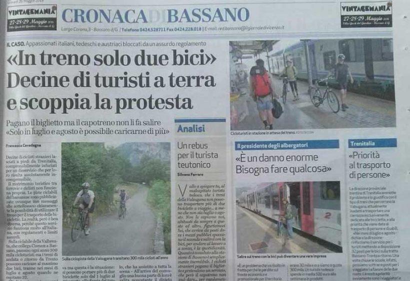 Bassano. In treno solo due bici. Decine di turisti a terra e protesta degli albergatori.