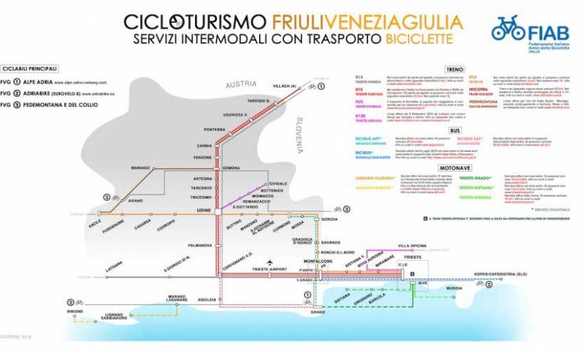 Friuli Venezia Giulia: Fiab pubblica la mappa dei servizi di intermodalità per cicloturismo